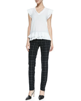 Nanette Lepore Poetry Ruffle-Trim V-Neck Top & Prep School Slim Plaid Pants