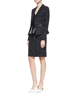 Nanette Lepore Collegiate Printed Leather-Trim Jacket, Campus Ruffle-Hem Leather/Ponte Top & Scholarly Leather-Trim Pencil Skirt