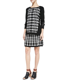 Nanette Lepore First Edition Plaid-Front Sweater & Series Plaid A-Line Skirt