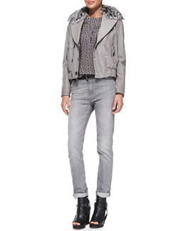 Brunello Cucinelli Reversible Leather Bomber Jacket with Fur Collar, Foulard-Print Henley Blouse & Slim Straight-Leg Jeans