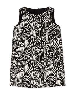 Milly Minis Girls' Zebra Print Pocket Shift Dress