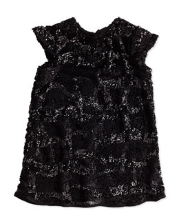Milly Minis Girls' Sequin Cap-Sleeve Dress