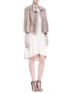 Brunello Cucinelli Mink Fur Jacket, Silk Dress, Suede Evening Gloves, Choker Necklace & Mixed-Bead Necklace