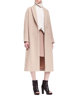 Brunello Cucinelli Long Cashmere Dropped-Shoulder Coat, Ribbed Paillette Cylinder Cashmere Turtleneck & Wool Crepe Swing Skirt