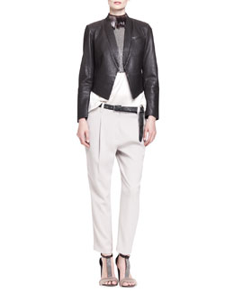 Brunello Cucinelli Pebbled Leather Tux Jacket with Cropped Pockets, Sleeveless Cropped Monili Armor Top & Pleated Crepe Carrot Pants