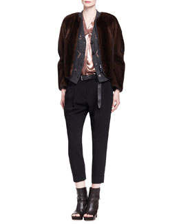 Brunello Cucinelli Jersey-Trim Mink Fur Jacket, Cashmere Waterfall Stars Cardigan, Lamé Button-Front Blouse, Double-Pleat Crepe Carrot Pants & Metallic Leather Belt
