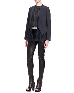 Brunello Cucinelli Silk-Ruffle Crepe Jacket, Marbled-Embroidered Top, Lamé Top & Leather Skinny Pants
