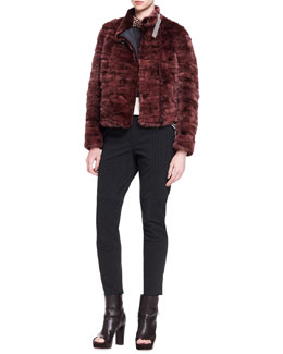 Brunello Cucinelli Monili-Collar Striped Mink Fur Jacket, Sleeveless Cropped Knit Pullover, Long-Sleeve Silk Shoulder-Detail Top & Swarovski® Crystal Collar Necklace