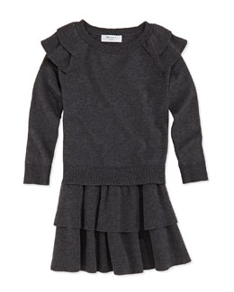 Milly Minis Girls' Knit Ruffled Raglan Sweater & Tiered Skirt