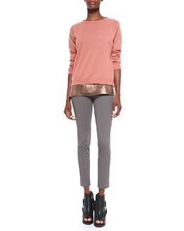 Brunello Cucinelli Cashmere Crewneck Sweater, Sleeveless Metallic T-Shirt & Cropped Jodhpur Pants
