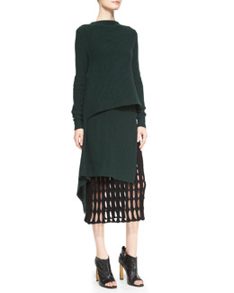 Derek Lam Cashmere Boat-Neck Asymmetric Tunic & Felt Mesh-Detail Pencil Skirt