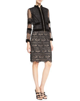 Erdem Mardi Cropped Organza Jacket & Brenton Lace Sleeveless Sheath Dress