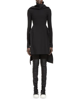 Rick Owens Calla Long-Sleeve High-Low Dress & Merino Wool Leggings