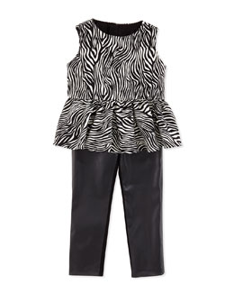 Milly Minis Zebra Peplum Top & Faux-Leather Leggings
