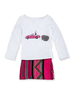 Milly Minis Girls' Long-Sleeve Graphic Tee & Jacquard Miniskirt