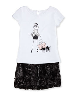 Milly Minis Short-Sleeve Graphic Tee & Sequin Miniskirt