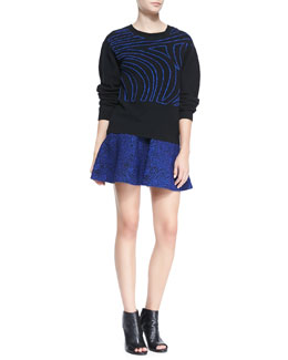 Opening Ceremony Fingerprint Wool Crewneck Sweater & Jacquard Flared Skirt