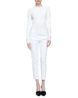 Reed Krakoff Long-Sleeve Ribbed Crewneck Top & Cropped Skinny Pants