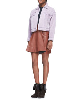 3.1 Phillip Lim Shearling Denim-Style Jacket, Arc-Line Top & Leather Round-Fold Skirt