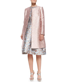 Mary Katrantzou Sunset Cookie Cutter Jacquard Coat & Jewel-Neck Dress