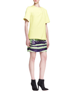 Alexander Wang Short-Sleeve Bias-Draped T-Shirt and Mountain Jacquard Pencil Skirt