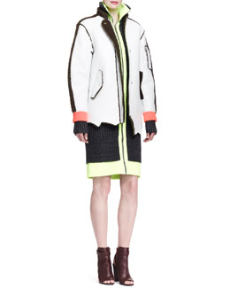 Alexander Wang Leather/Shearling Fur Raw-Edge Jacket and Fitted Track Dress
