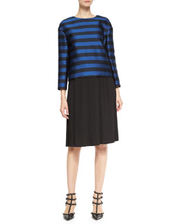 RED Valentino Long-Sleeve Striped Mikado Top & Plissé-Pleated Skirt