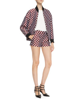 RED Valentino Jacquard Heart-Print Bomber Jacket, Cotton Jersey Tee with Point d'Esprit & Jacquard Heart-Print Shorts