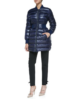 RED Valentino Puffer Coat with Elastic Waist & Cropped Pants with Bow Cuff Detail
