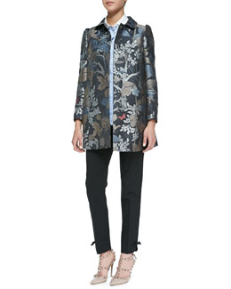 RED Valentino Wooded Forest Jacquard Topper Coat, Striped Stretch Poplin Blouse with Ruffles & Cropped Pants with Bow Cuff Detail