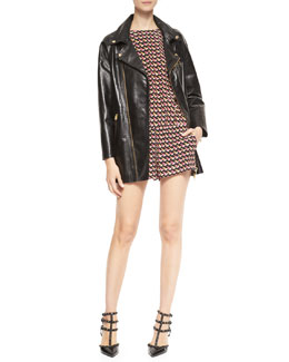 RED Valentino Long Leather Motorcycle Jacket & Short-Sleeve Little Birds Jumpsuit