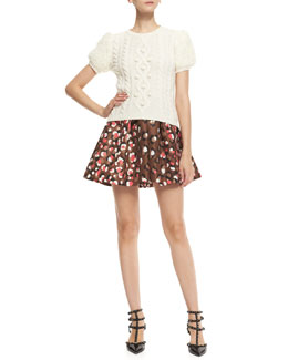 RED Valentino Aran Short-Sleeve Chunky-Knit Pullover & Pop Leo-Print Flared Shorts