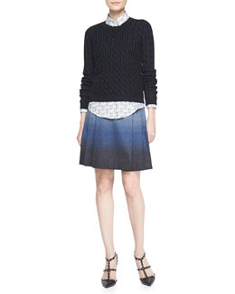 RED Valentino Long-Sleeve Velvet Cable Sweater, Owl-Print Cotton Poplin Blouse & Light Faded Ombre Wool Skirt