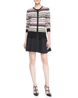 RED Valentino Animal and Fair Isle Striped Cardigan & Techno Cady Circle Skirt