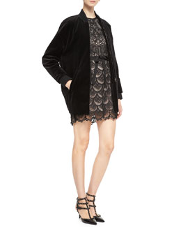 RED Valentino Long Stretch-Velvet Bomber Jacket & Sleeveless Macramé Owl Dress