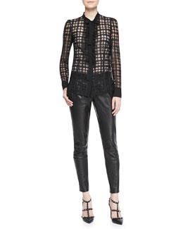 RED Valentino Sheer Organza Check Blouse & Lambskin Leather Trousers