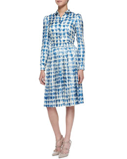 RED Valentino Scribbled Heart-Print Shirt & Plisse Pleated Skirt