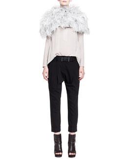 Brunello Cucinelli Ostrich Feather Knit Capelet, Silk Henley Top, Double-Pleat Carrot Pants & Punch-Hole Belt