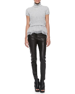 Brunello Cucinelli Short-Sleeve Cashmere and Tulle Top & Leather Skinny Pants