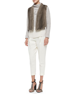 Brunello Cucinelli Tulip-Back Mink Fur Vest, Cropped Soul Sweater, Long-Sleeve Silk Top & Full Pleated Ankle Trousers