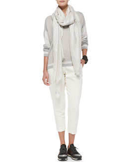 Brunello Cucinelli Varsity Paillette Sweater, Full Pleated Ankle Trousers, Shimmery Scarf & Leather Cuffs