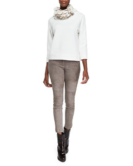 Brunello Cucinelli Monili-Neck Sweatshirt W/ Bracelet Sleeves, Silk Petal Collar Necklace & Fitted Suede Pencil Leg Pants