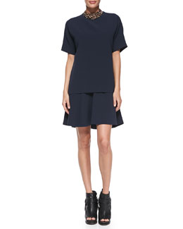 Brunello Cucinelli Short-Sleeve Layered Dress and Swarovski® Crystal Collar Necklace