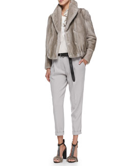 Brunello Cucinelli Mink Fur Blouson Jacket, Sweater with Petal Tank, Pleated Carrot Pants & Metallic Belt