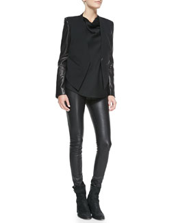 Helmut Lang Leather-Sleeve Wool Tuxedo Jacket, Gravel Drape-Neck Silk Top & Stretch-Leather Skinny Pants