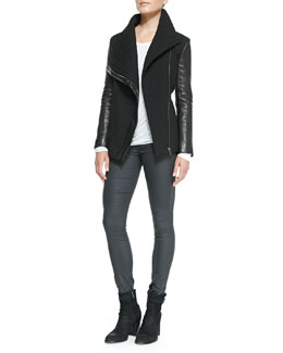 Helmut Lang Blizzard Knit/Leather Jacket, Kinetic Jersey Long-Sleeve Top & Coated Stretch Legging Jeans