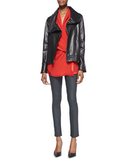 Helmut Lang Shawl-Collar Leather Jacket, Pebbled Satin-Trim Draped Top & Coated Stretch Legging Jeans