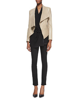 Helmut Lang Draped Leather Hook Jacket, Pattern-Trim Draped Silk Blouse & Bat Wash Skinny-Leg Denim Jeans