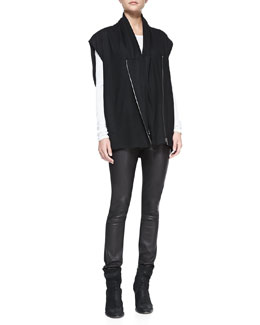 Helmut Lang Sonar Wool Front-Zip Vest, Kinetic Jersey Long-Sleeve Top & Leather-Front Ponte Skinny Pants