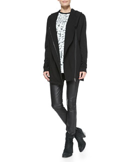 Helmut Lang Villous Oversize Hooded Knit Cardigan, Strata Printed/Solid Slub Tank & Leather-Front Ponte Skinny Pants